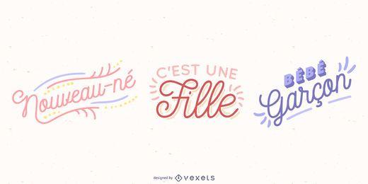 Französischer Baby-Beschriftungs-Vektor-Satz