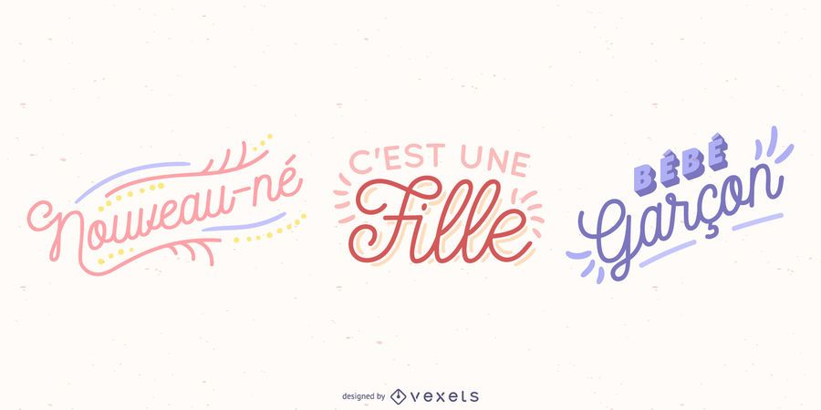 French Baby Lettering Vector Set
