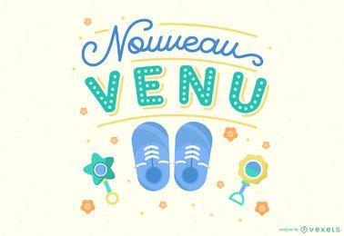 Newcomer Baby Schriftzug Illustration