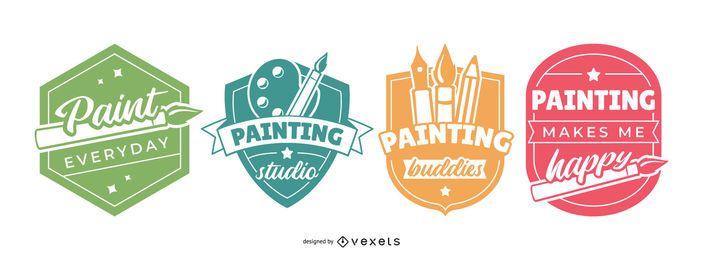Conjunto de emblemas de pintura