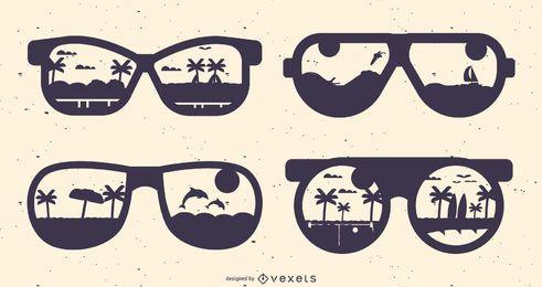Conjunto de silhueta de óculos de verão