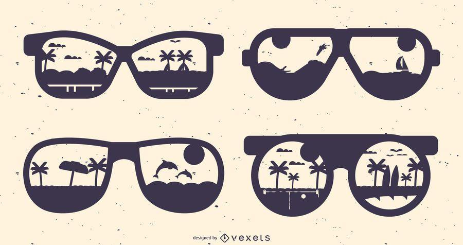 Conjunto de silueta de gafas de verano