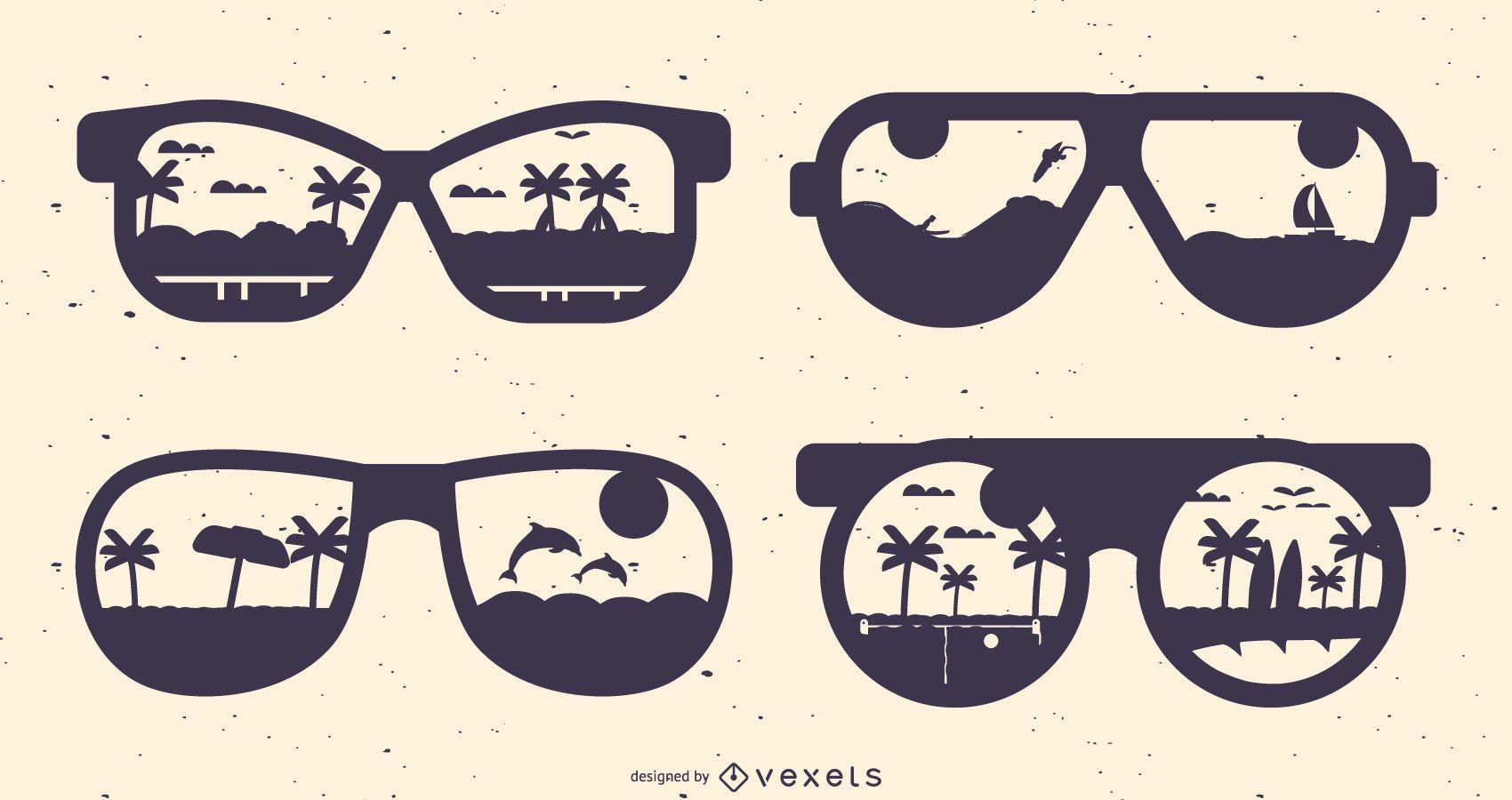 Summer Glasses Silhouette Set