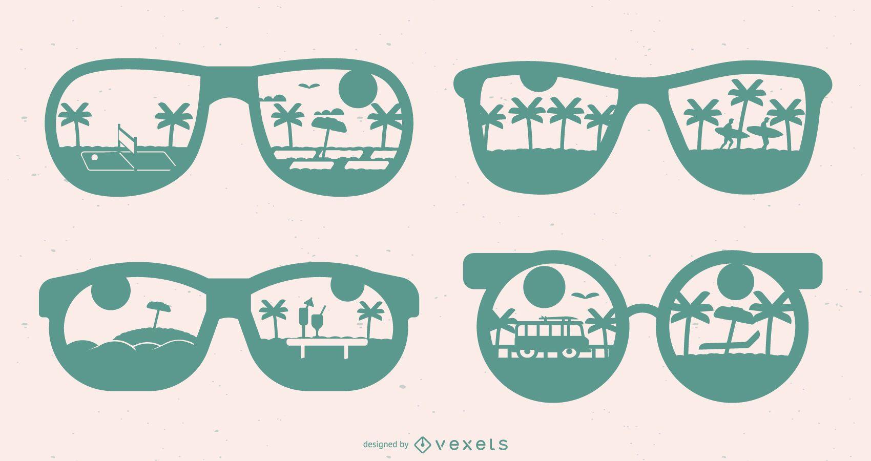 Set de diseño de gafas de verano Silhoutte