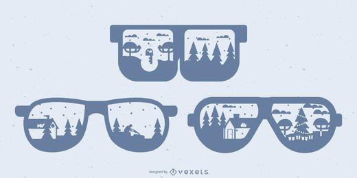 Reflexões de paisagem em óculos de sol