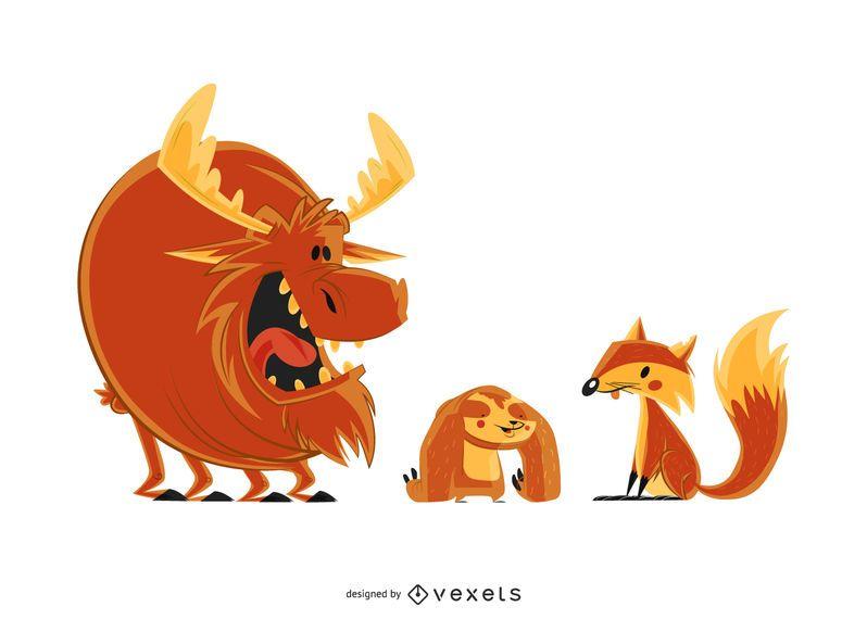 Sloth Fox Moose ilustración de dibujos animados