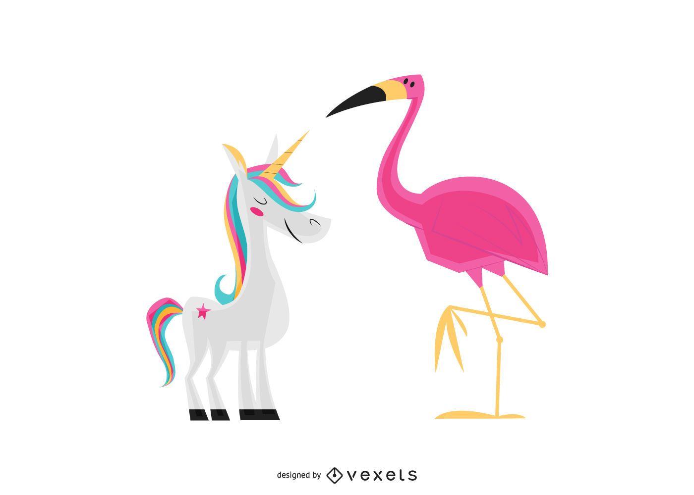 Unicornio Flamingo Vector Set