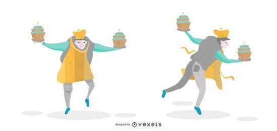Tanzen-Bäcker-Illustrations-Satz
