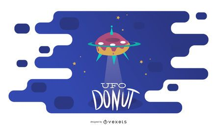 Flying UFO Donut Illustration