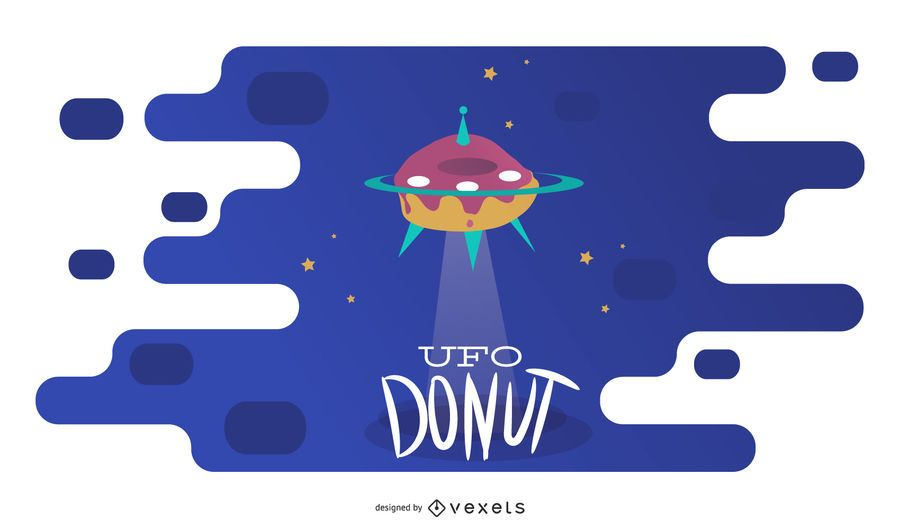 Flying UFO Donut Illustration