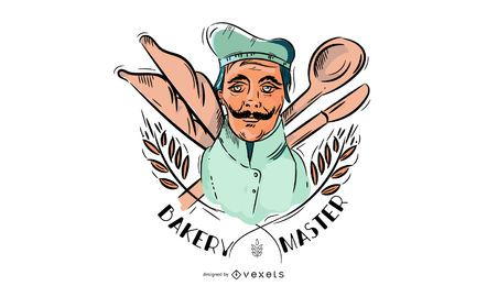 Ilustração mestre de padaria