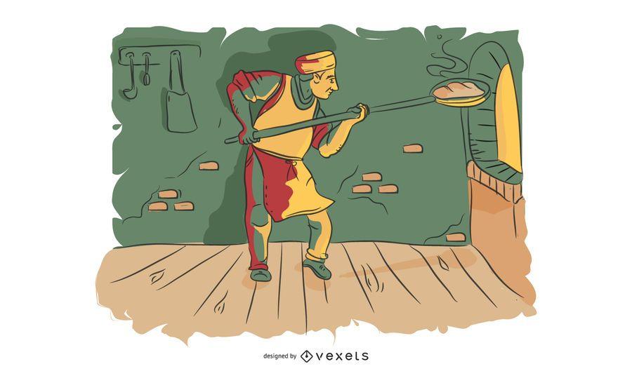 Escena de panadería Baker Ilustración
