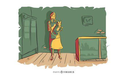Ilustração em vetor mulher padaria