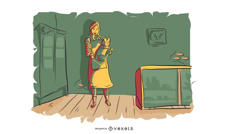 Ilustración de vector de mujer de panadería