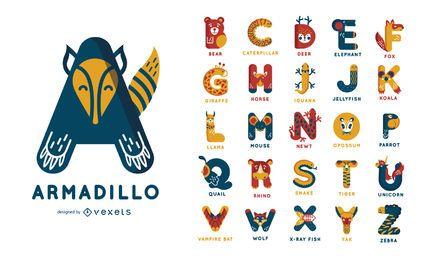 Conjunto de alfabeto de temática animal