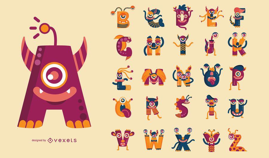 Conjunto de alfabeto temático de monstruo