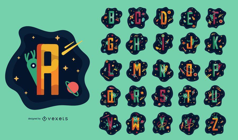 Conjunto de alfabeto com tema espacial