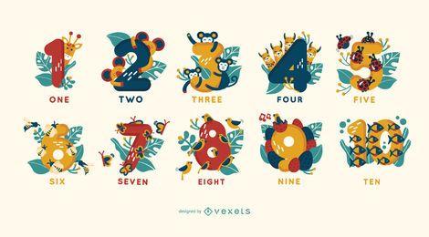 Conjunto de números de ilustração animal