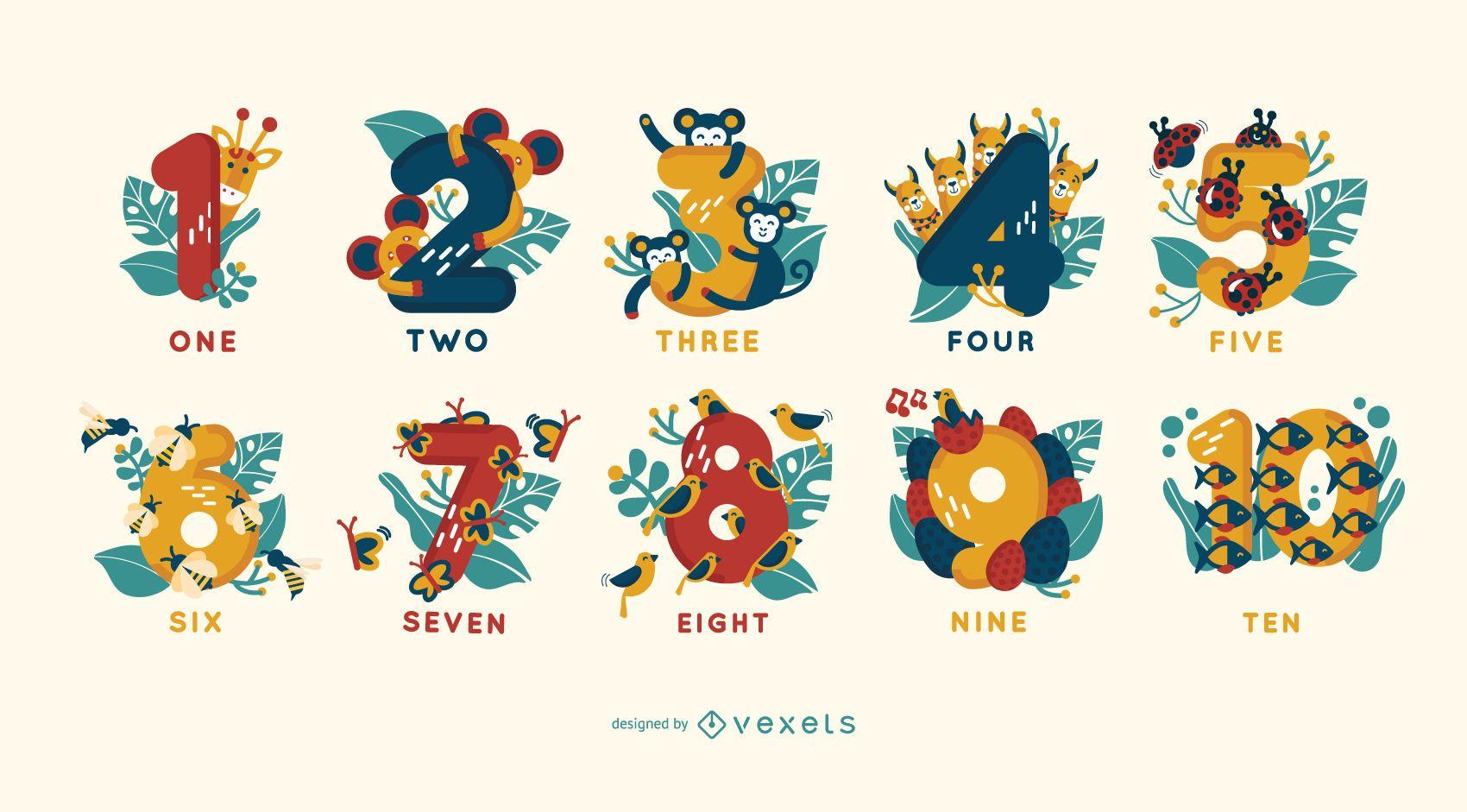 Animal Illustration Number Set