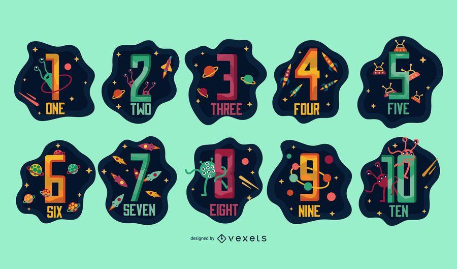 Space numbers illustration set