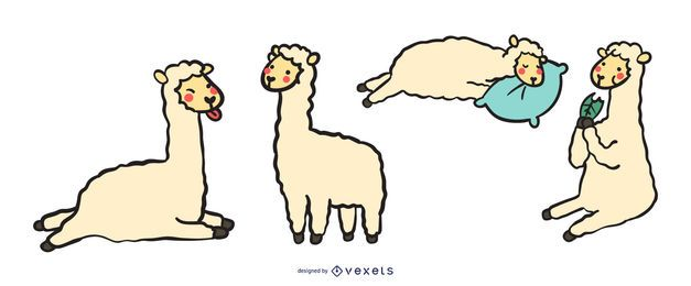 Cute llama vector set