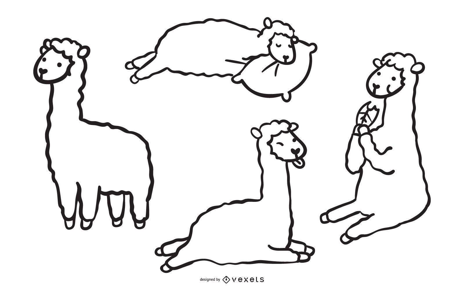 Lindo conjunto de doodle de llama