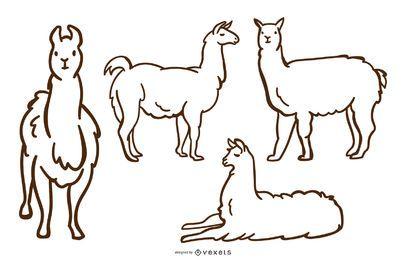 Conjunto de vetores de Doodle de lhama