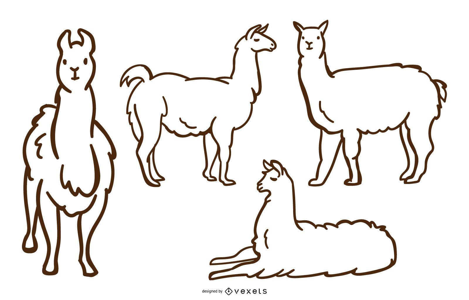 Llama Doodle conjunto de vectores