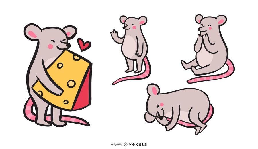 Conjunto coloreado de ratón de dibujos animados