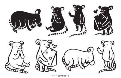 Coleção de desenhos animados de rato bonitinho