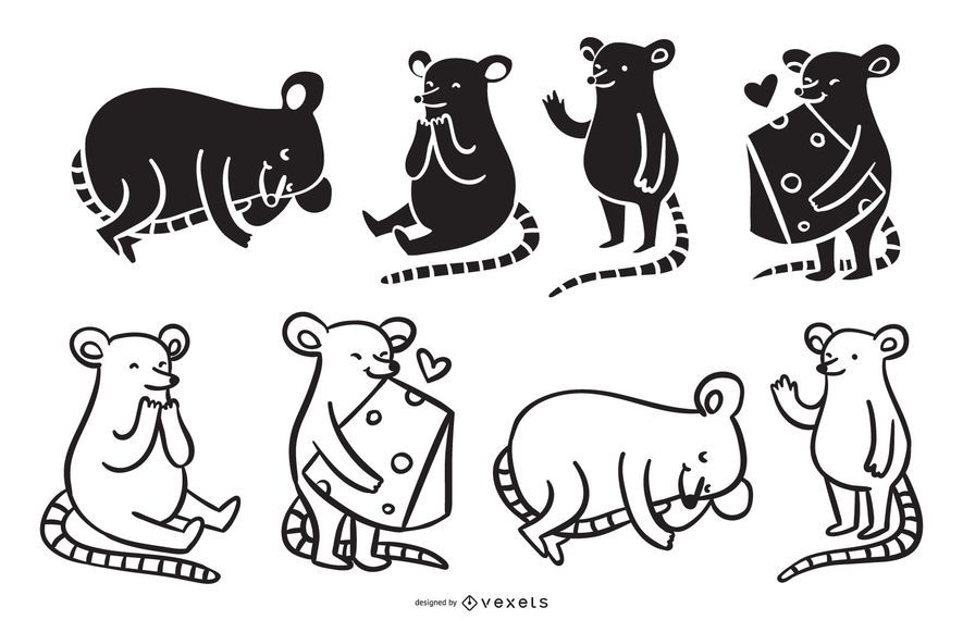 Colección de dibujos animados lindo del ratón
