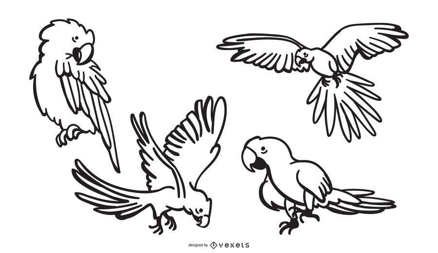 Parrot stroke designs