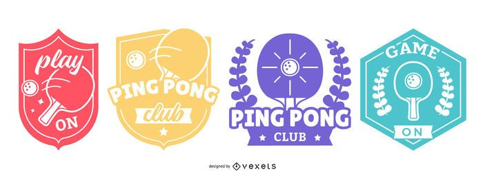 Conjunto de emblemas de pingue-pongue