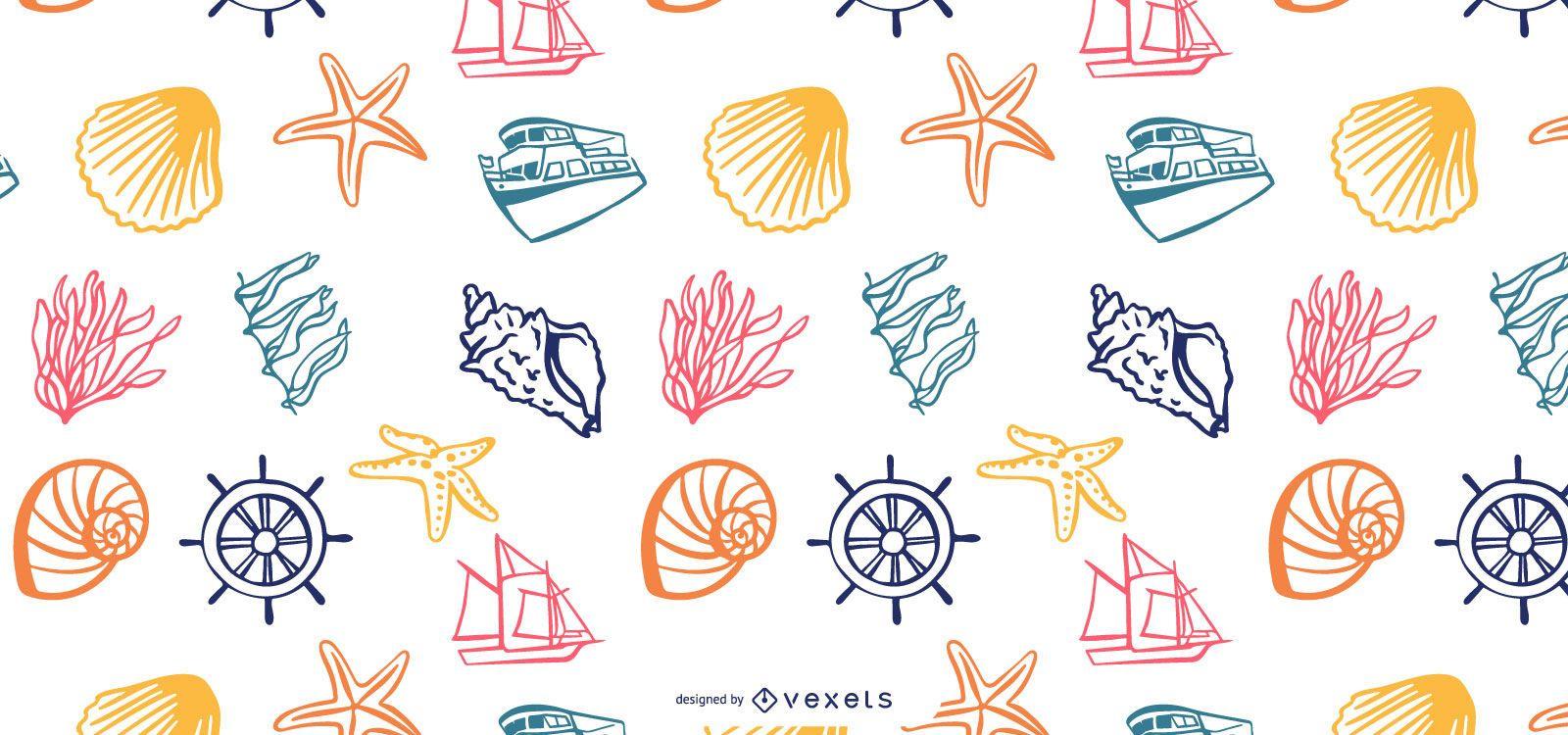 Sea elements pattern design