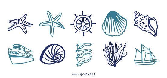 Conjunto de vetores de elementos do mar