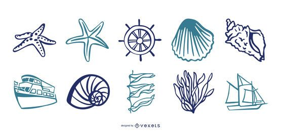 Sea Elements Vector Set
