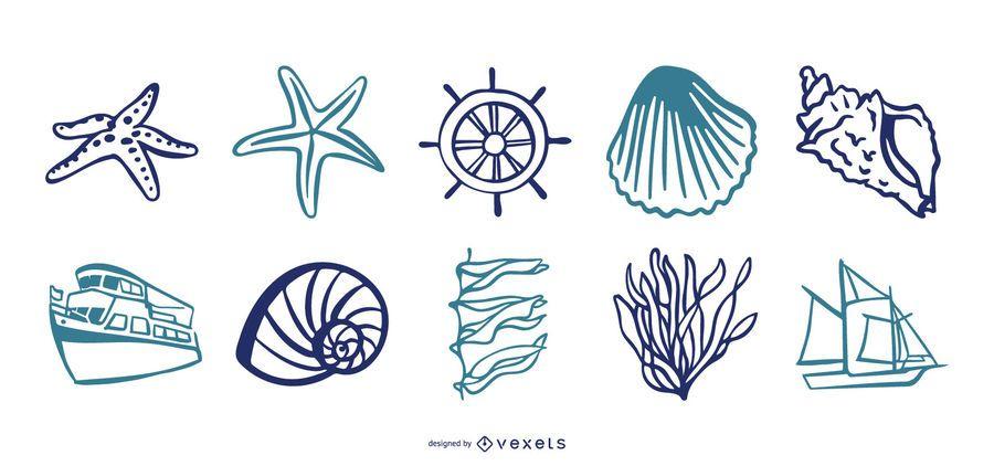 Conjunto de vectores de elementos del mar