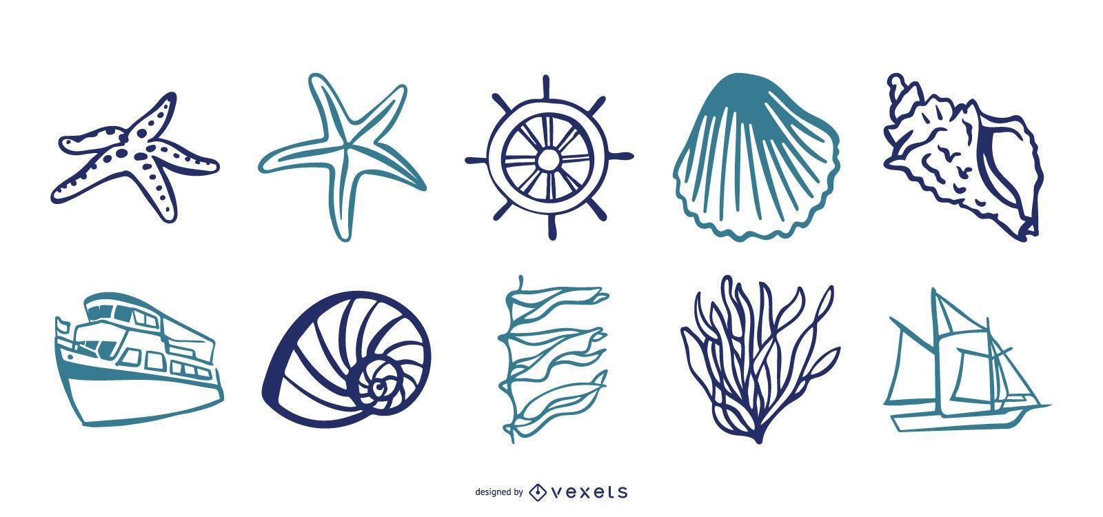 Conjunto de vectores de elementos marinos