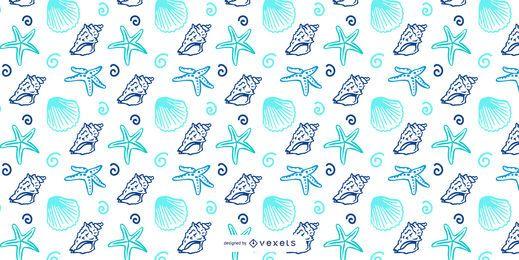 Desenho de padrão de marisco azul