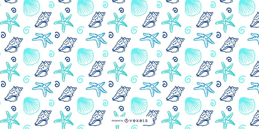 Shellfish blue pattern design