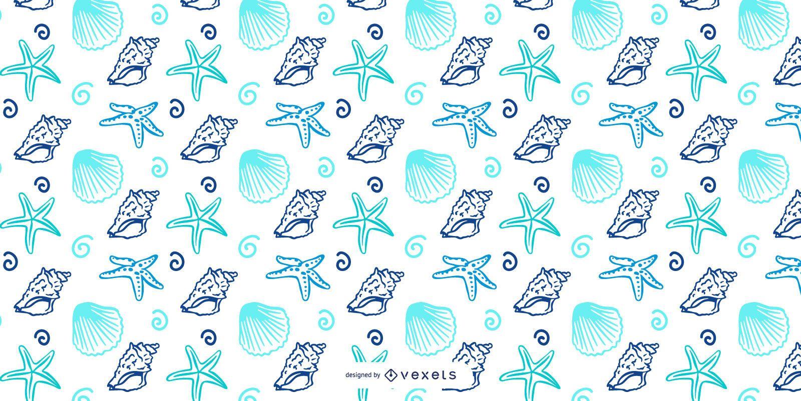 Shellfish blue pattern design