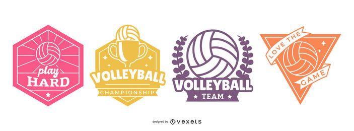 Conjunto de insignias de voleibol