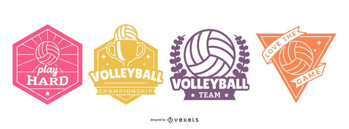 Volleyball Badges Set