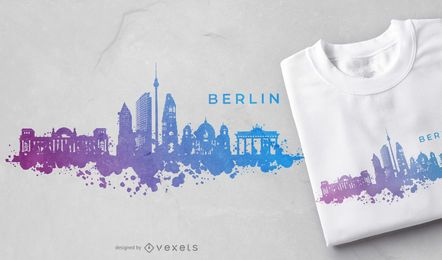 Berlin Watercolor Skyline T-shirt Design