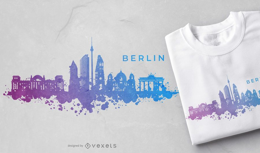 Diseño de camiseta Berlinline Skyline de acuarela