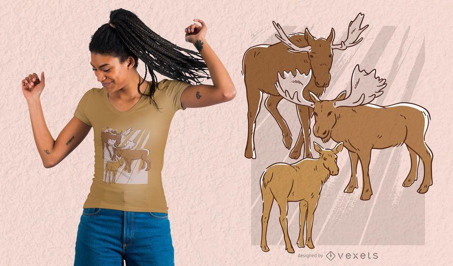 Diseño de camiseta familiar de alces