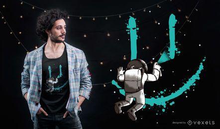 Projeto do t-shirt dos grafittis do astronauta