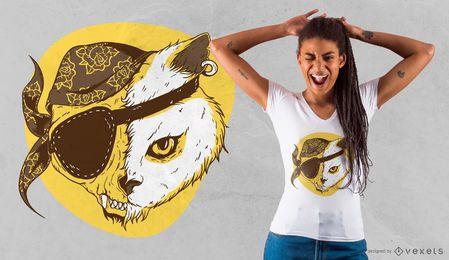 Diseño de camiseta de gato pirata