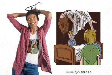 Diseño de camiseta de niña poseída