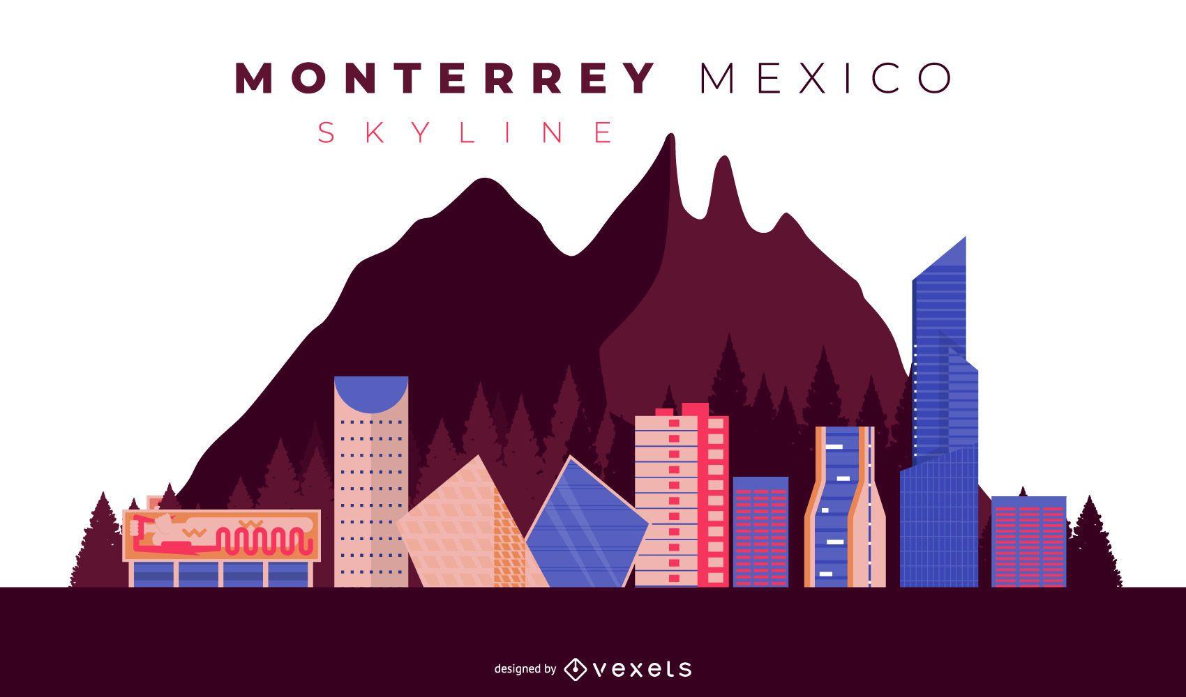 Monterrey Skyline Illustration